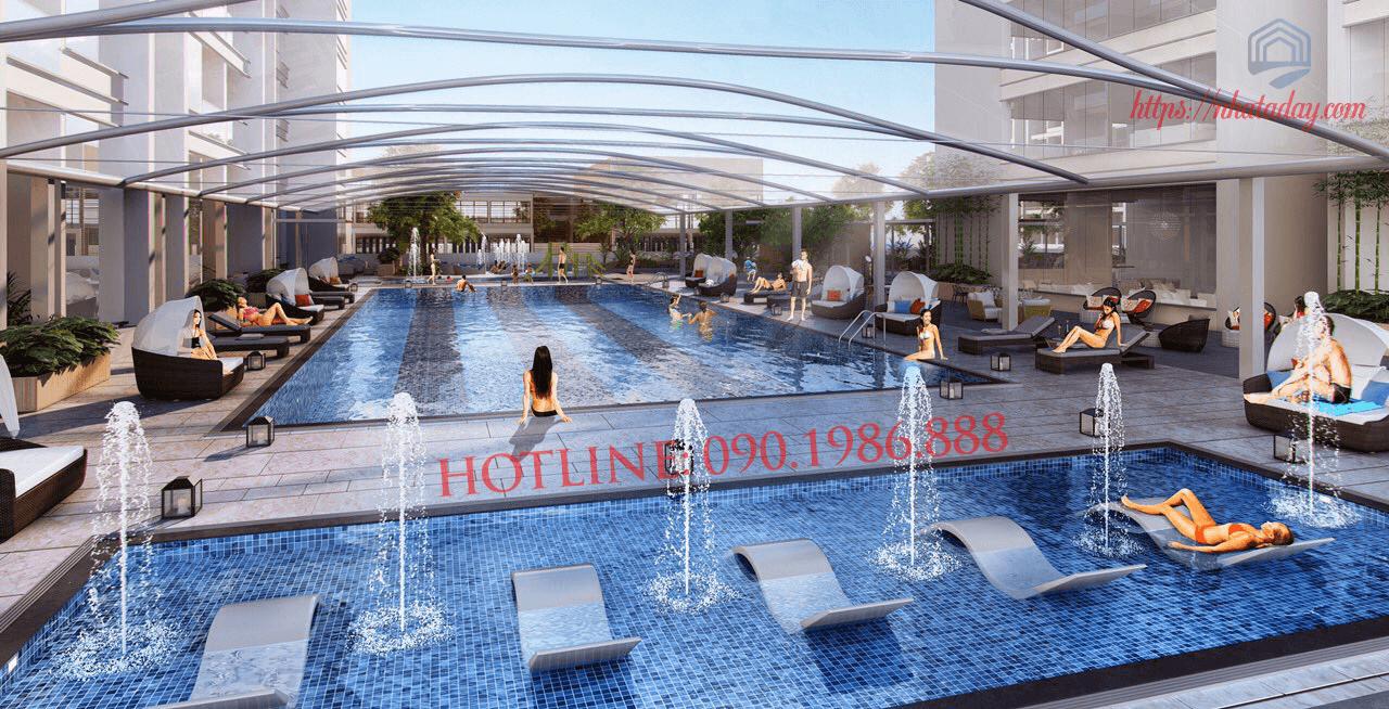 Bể bơi 4 mua phục vụ cư dân Vinhomes Liễu Giai Metropolis