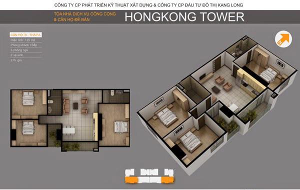 Thiết kế căn hộ B tòa A chung cư HongKong Tower