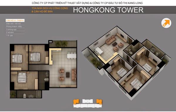 Thiết kế căn hộ A, tòa A chung cư HongKong Tower