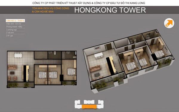 Thiết kế căn hộ C tòa A chung cư HongKong Tower