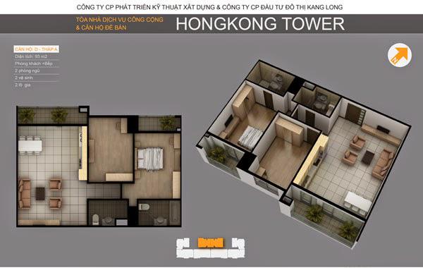 Thiết kế căn hộ D tòa A chung cư HongKong Tower