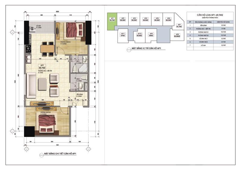 Thiết kế căn góc số 01 tòa A chung cư 219 Trung Kính