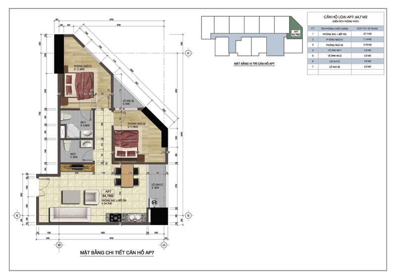 Thiết kế căn góc số 07 tòa A chung cư 219 Trung Kính