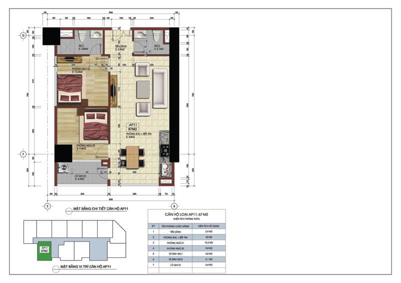 Thiết kế căn góc số 11 tòa A chung cư 219 Trung Kính