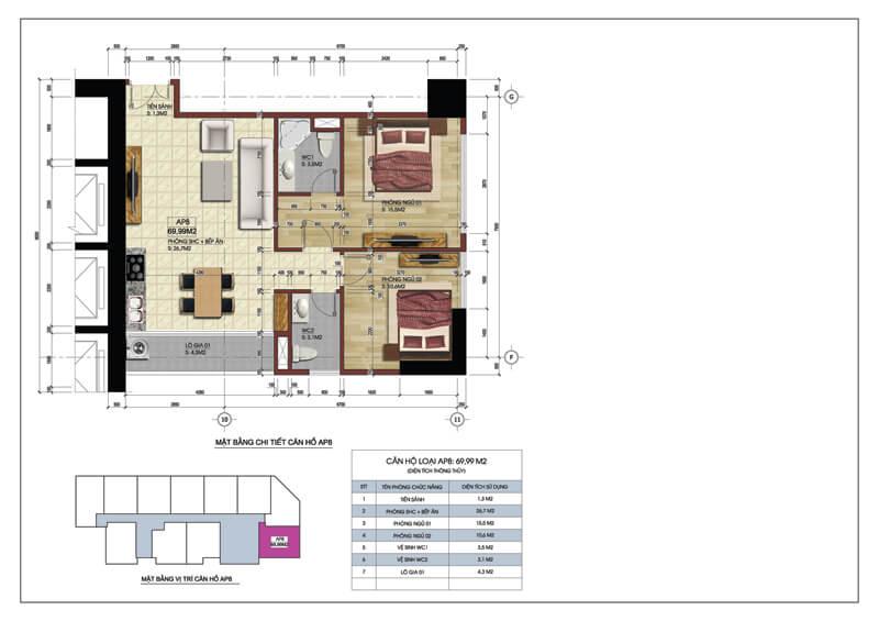 Thiết kế căn góc số 08 tòa A chung cư 219 Trung Kính