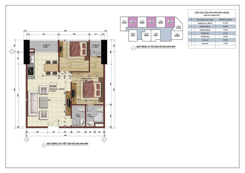 Thiết kế căn hộ số 02-04-06 tòa A chung cư 219 Trung Kính