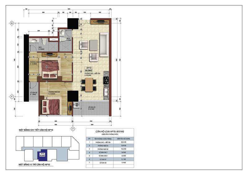 Thiết kế căn hộ số 10 tòa A chung cư 219 Trung Kính