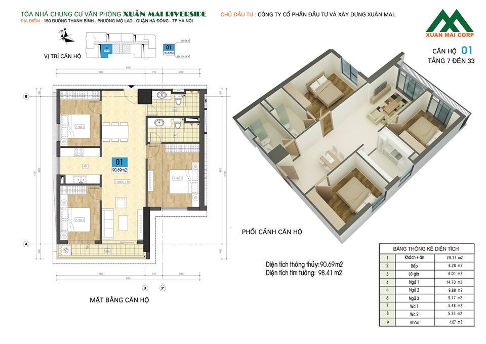 Mặt bằng căn hộ số 01 chung cư Xuân Mai Riverside (chung cư Xuân Mai Mỗ Lao)