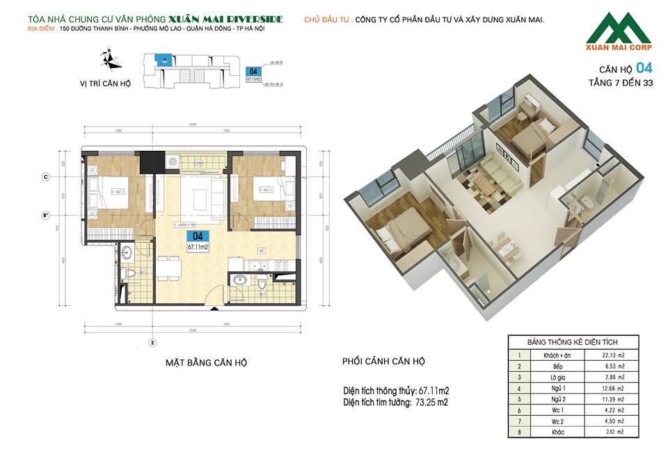 Mặt bằng căn hộ số 04 chung cư Xuân Mai Riverside (chung cư Xuân Mai Mỗ Lao)