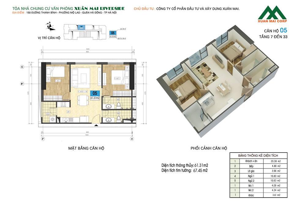 Mặt bằng căn hộ số 05 chung cư Xuân Mai Riverside (chung cư Xuân Mai Mỗ Lao)
