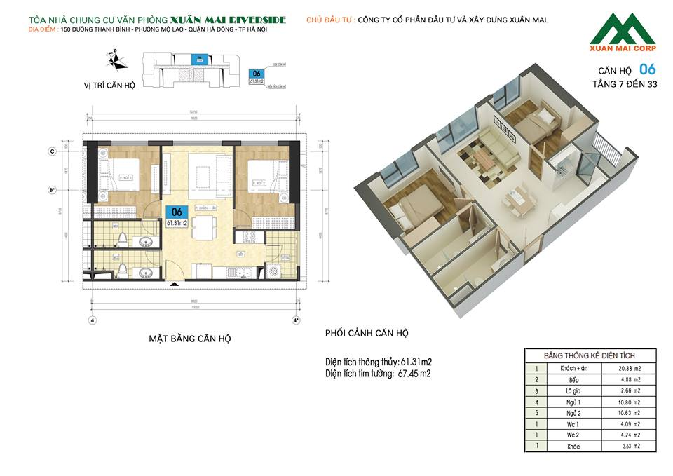 Mặt bằng căn hộ số 06 chung cư Xuân Mai Riverside (chung cư Xuân Mai Mỗ Lao)
