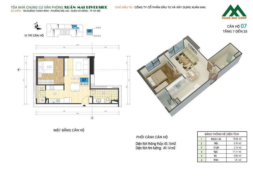 Mặt bằng căn hộ số 07 chung cư Xuân Mai Riverside (chung cư Xuân Mai Mỗ Lao)