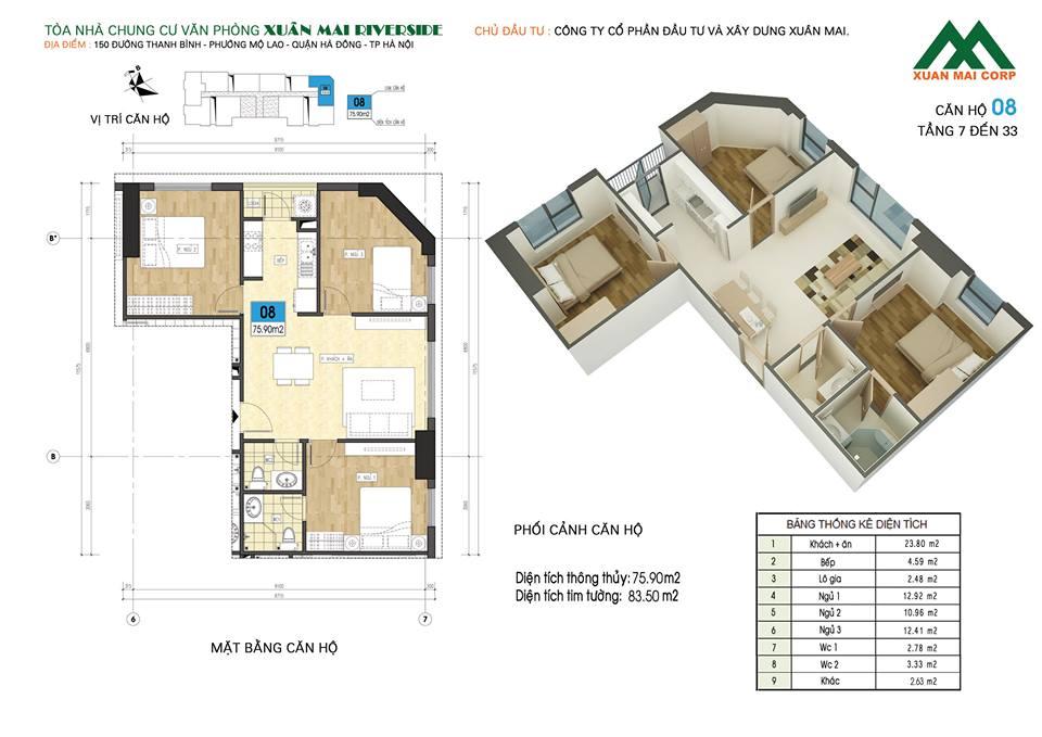 Mặt bằng căn hộ số 08 chung cư Xuân Mai Riverside (chung cư Xuân Mai Mỗ Lao)