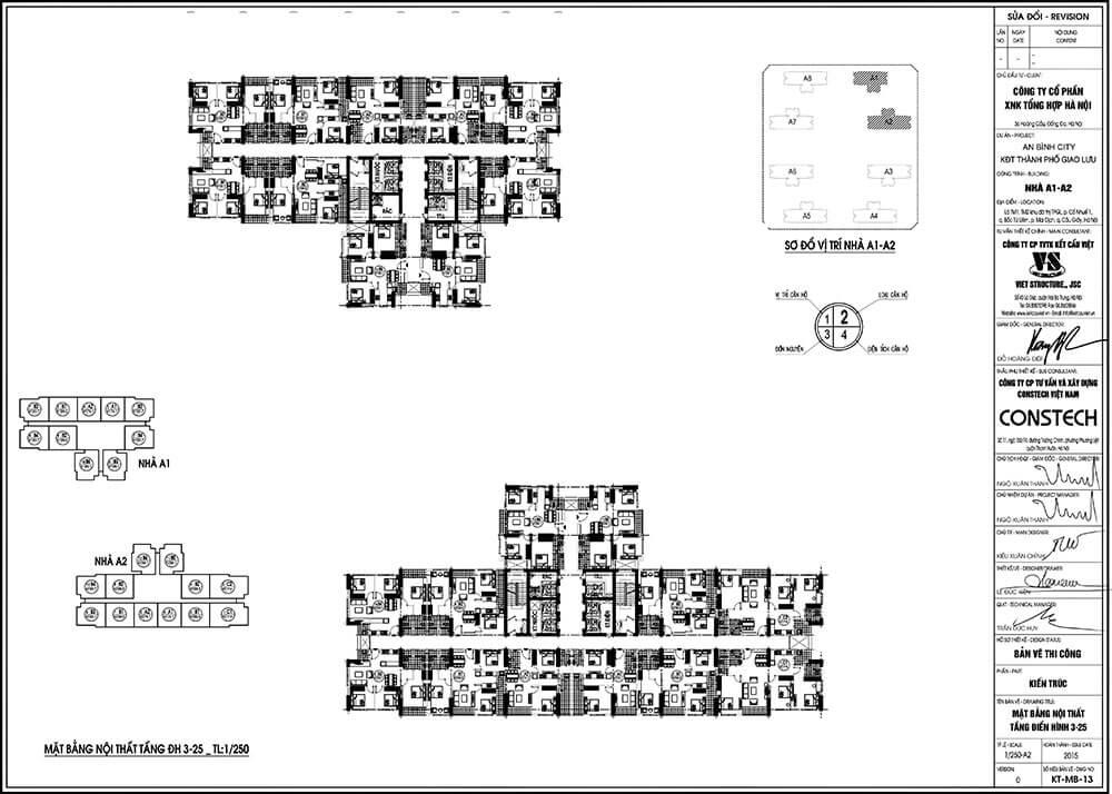 Mặt bằng điển hình tòa A1 và A2 chung cư An Bình City Thành phố Giao Lưu