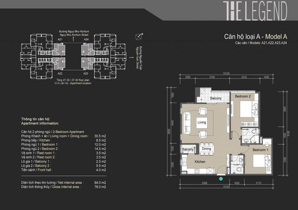 Mặt bằng điển hình căn hộ loại A chung cư The Legend Tower 109 Nguyễn Tuân