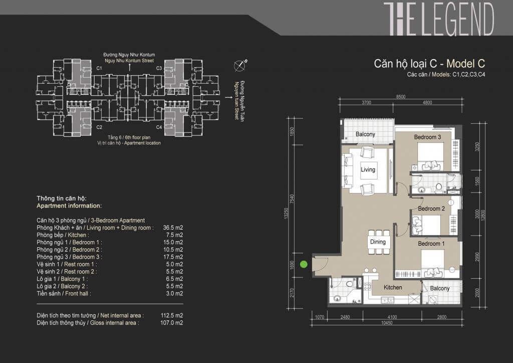 Mặt bằng điển hình căn hộ loại C chung cư The Legend Tower 109 Nguyễn Tuân