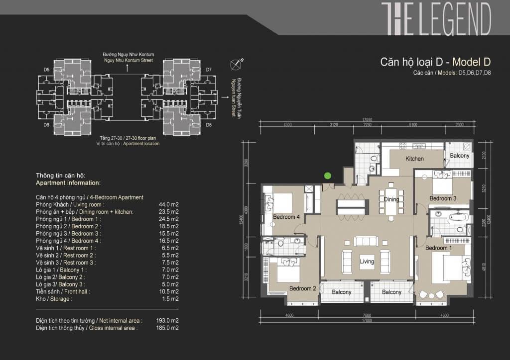Mặt bằng điển hình căn hộ loại D chung cư The Legend Tower 109 Nguyễn Tuân