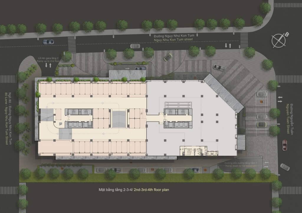 Mặt bằng thiết kế chung cư The Legend Tower 109 Nguyễn Tuân - Mặt bằng điển hình tầng 2 3 4