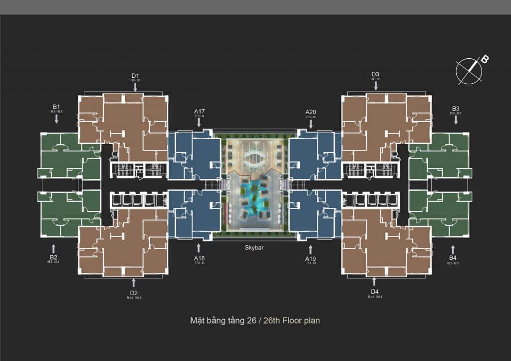 Mặt bằng thiết kế chung cư The Legend Tower 109 Nguyễn Tuân - Mặt bằng điển hình tầng 26