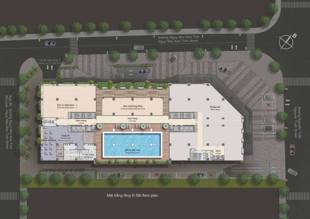 Mặt bằng thiết kế chung cư The Legend Tower 109 Nguyễn Tuân - Mặt bằng điển hình tầng 5