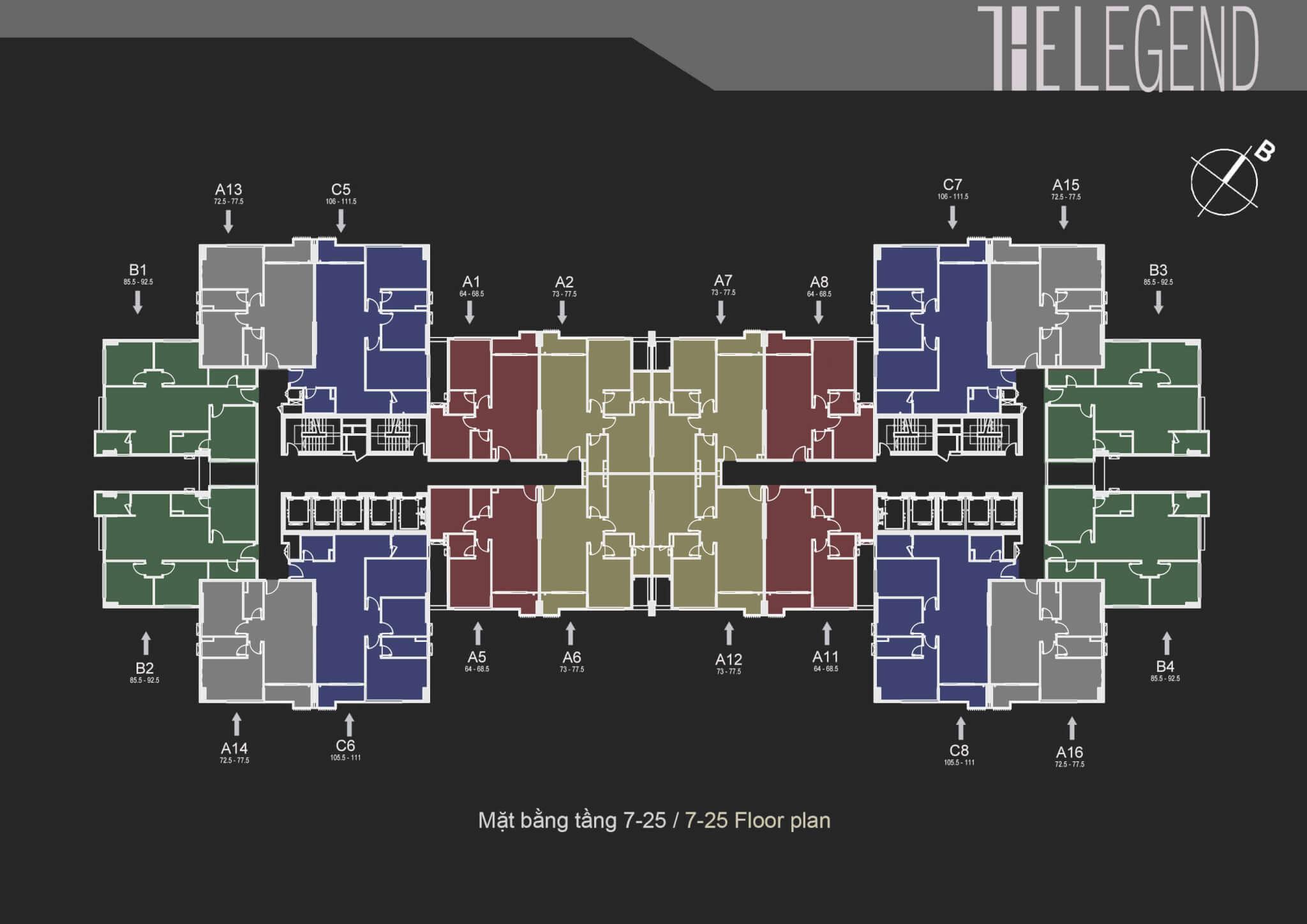 Mặt bằng thiết kế chung cư The Legend Tower 109 Nguyễn Tuân - Mặt bằng điển hình tầng 7 đến 25