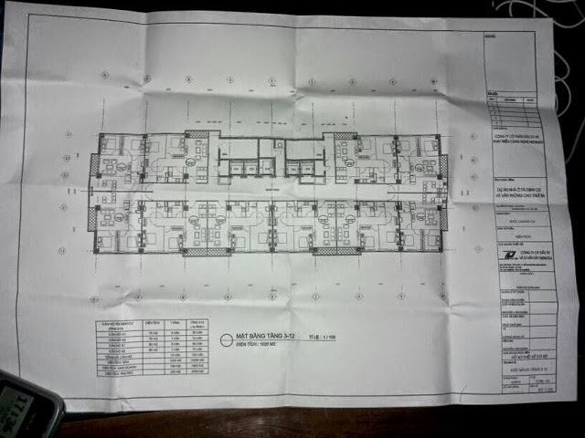 Mặt bằng thiết kế tầng 3 - 12 chung cư B6 Giảng Võ