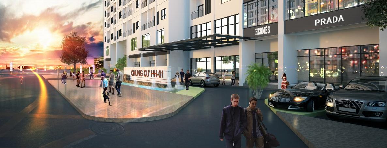Sảnh trung tâm thương mại Tầng 1 chung cư HH01 Nam Cường
