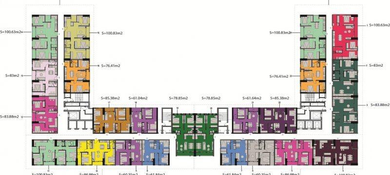 Mặt bằng thiết kế diện tích tổng thể chung cư AnLand Nam Cường Complex Building Dương Nội