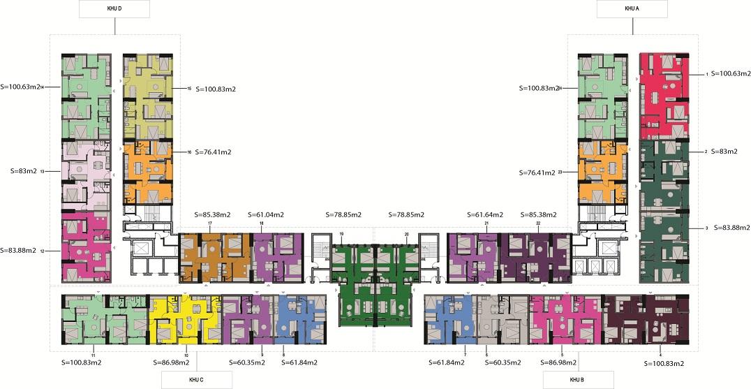 Mặt bằng thiết kế chung cư AnLand Nam Cường Complex Building Dương Nội