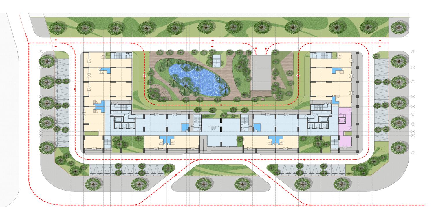 Mặt bằng thiết kế tầng 1 chung cư AnLand Complex Building Nam Cường khu đô thị Dương Nội