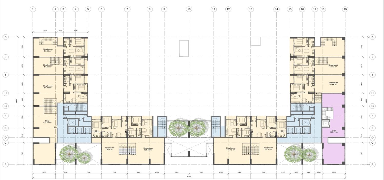Mặt bằng thiết kế tầng 2 chung cư AnLand Complex Building Nam Cường khu đô thị Dương Nội