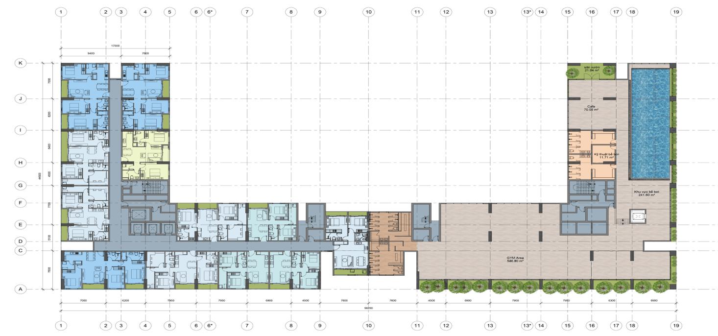 Mặt bằng thiết kế tầng 3 chung cư AnLand Complex Building Nam Cường khu đô thị Dương Nội
