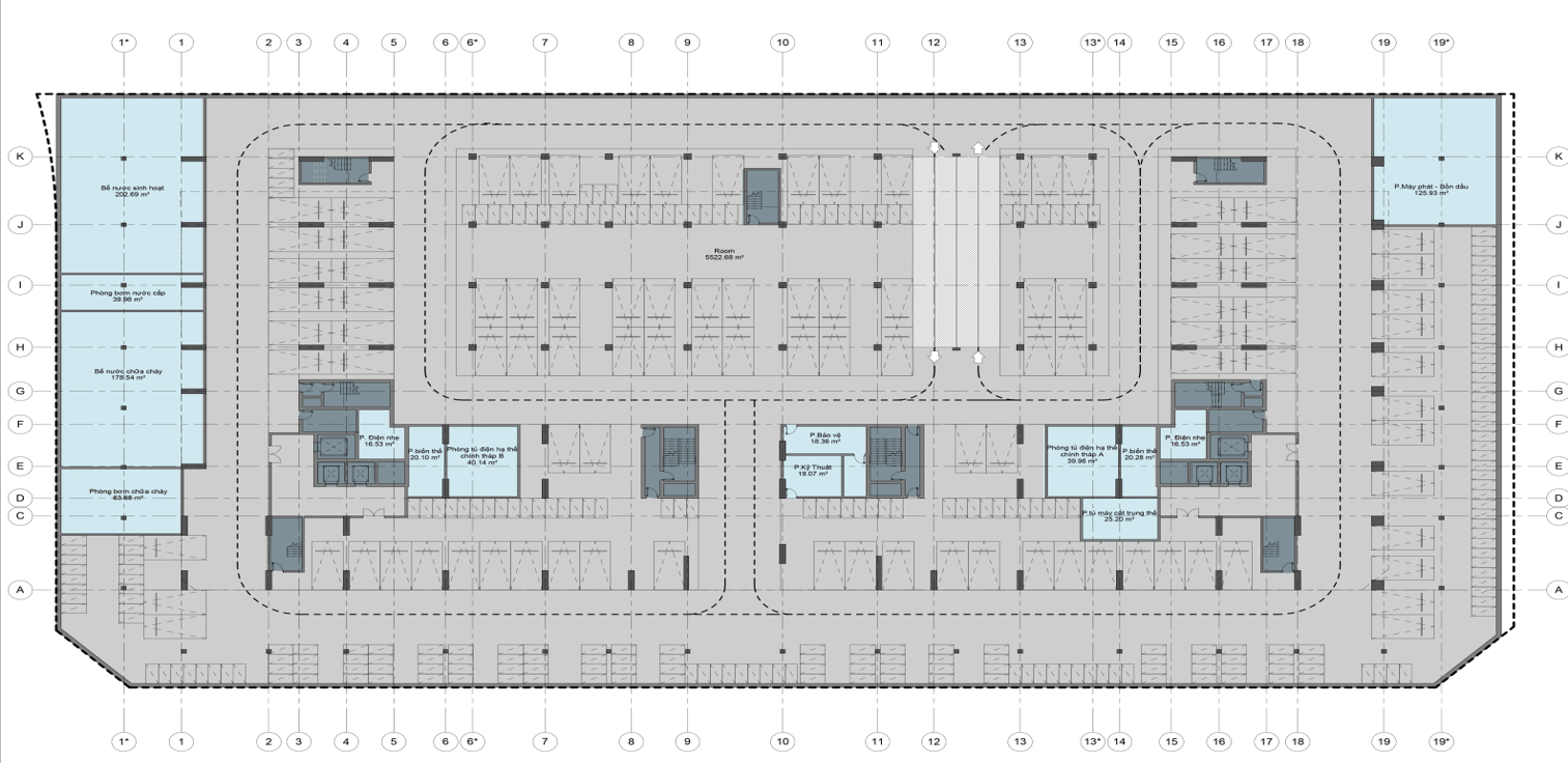 Mặt bằng thiết kế tầng hầm 1 chung cư AnLand Complex Building Nam Cường khu đô thị Dương Nội