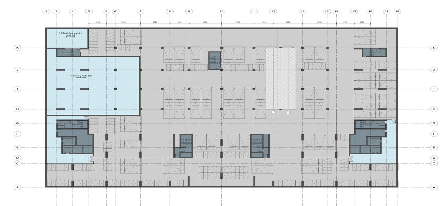 Mặt bằng thiết kế tầng hầm 2 chung cư AnLand Complex Building Nam Cường khu đô thị Dương Nội