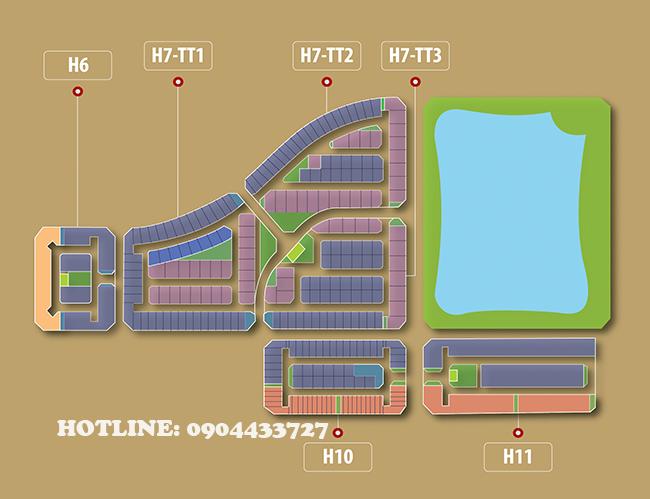 Mặt bằng tổng thể khu biệt thự Starlake từ H6 đến H11