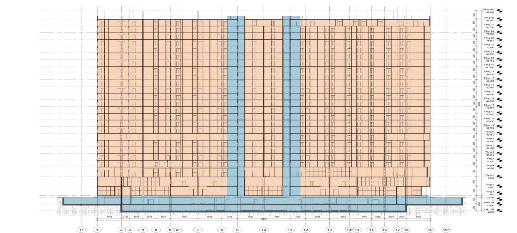 Mặt cắt trục tầng 1-19 Chung cư AnLand Complex Building Nam Cường Dương Nội