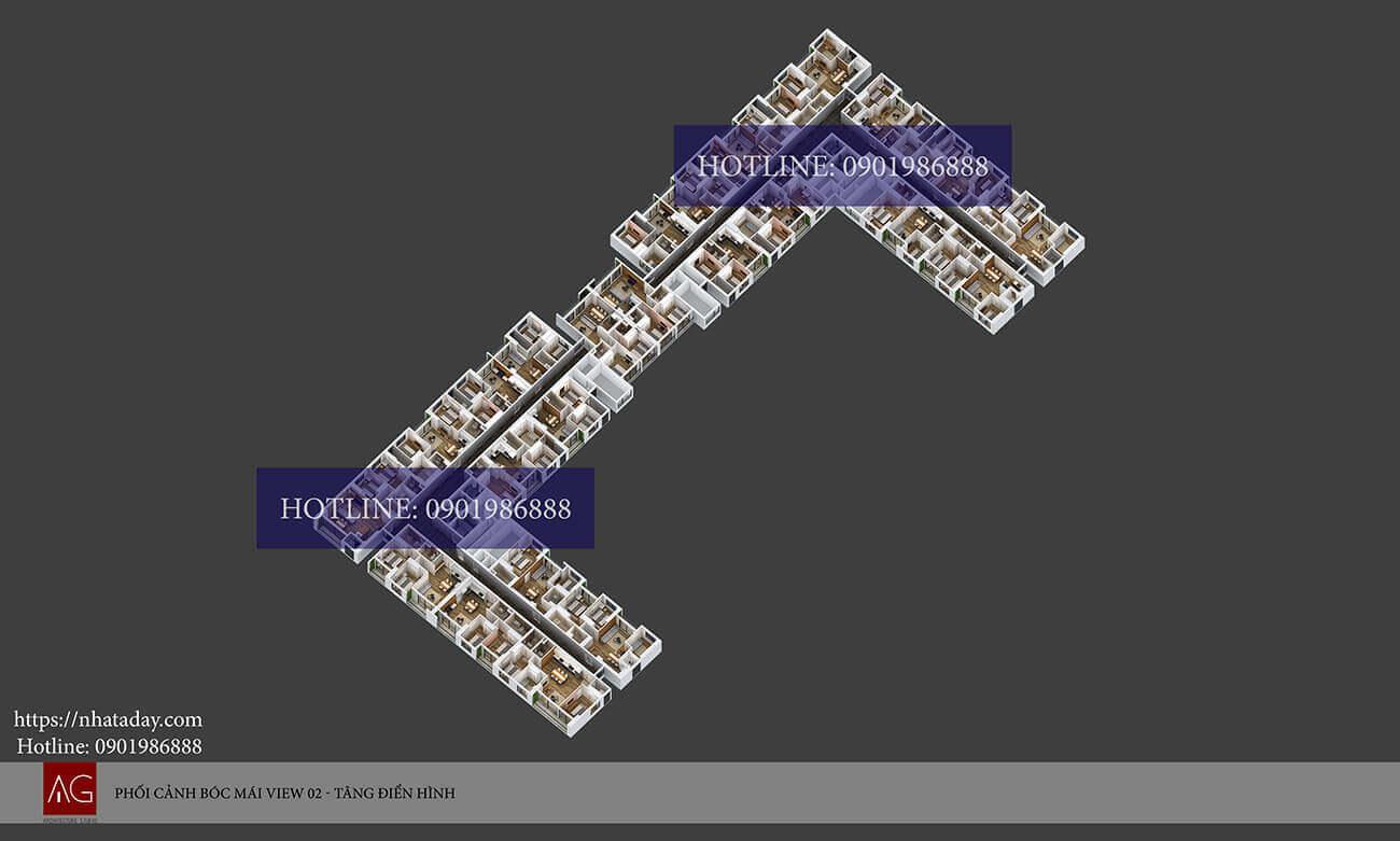 Thiết kế bóc mái tầng điển hình 4-24 chung cư AnLand Nam Cường HH01 Complex Building