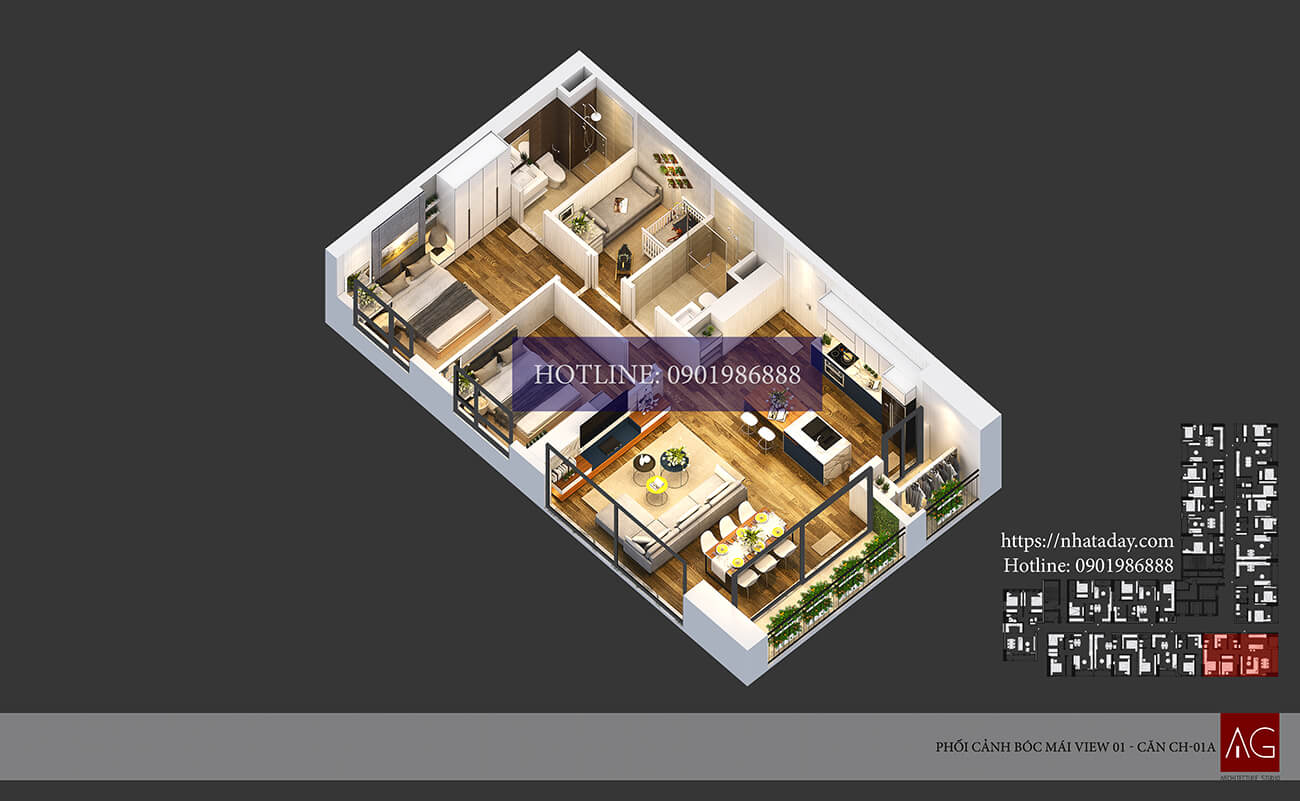 Thiết kế bóc mái căn hộ CH01 tòa A chung cư AnLand Nam Cường HH01 Complex Building