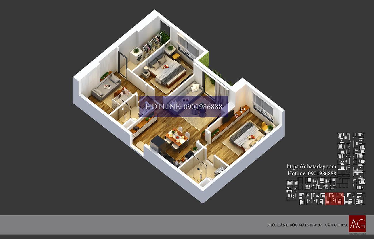 Thiết kế bóc mái căn hộ CH02 tòa A chung cư AnLand Nam Cường HH01 Complex Building