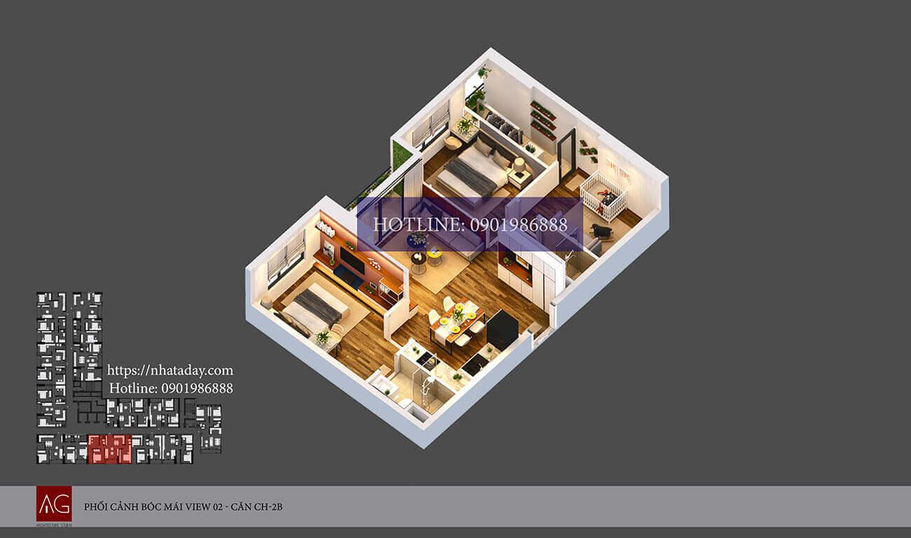 Thiết kế bóc mái căn hộ CH02 tòa B chung cư AnLand Nam Cường HH01 Complex Building