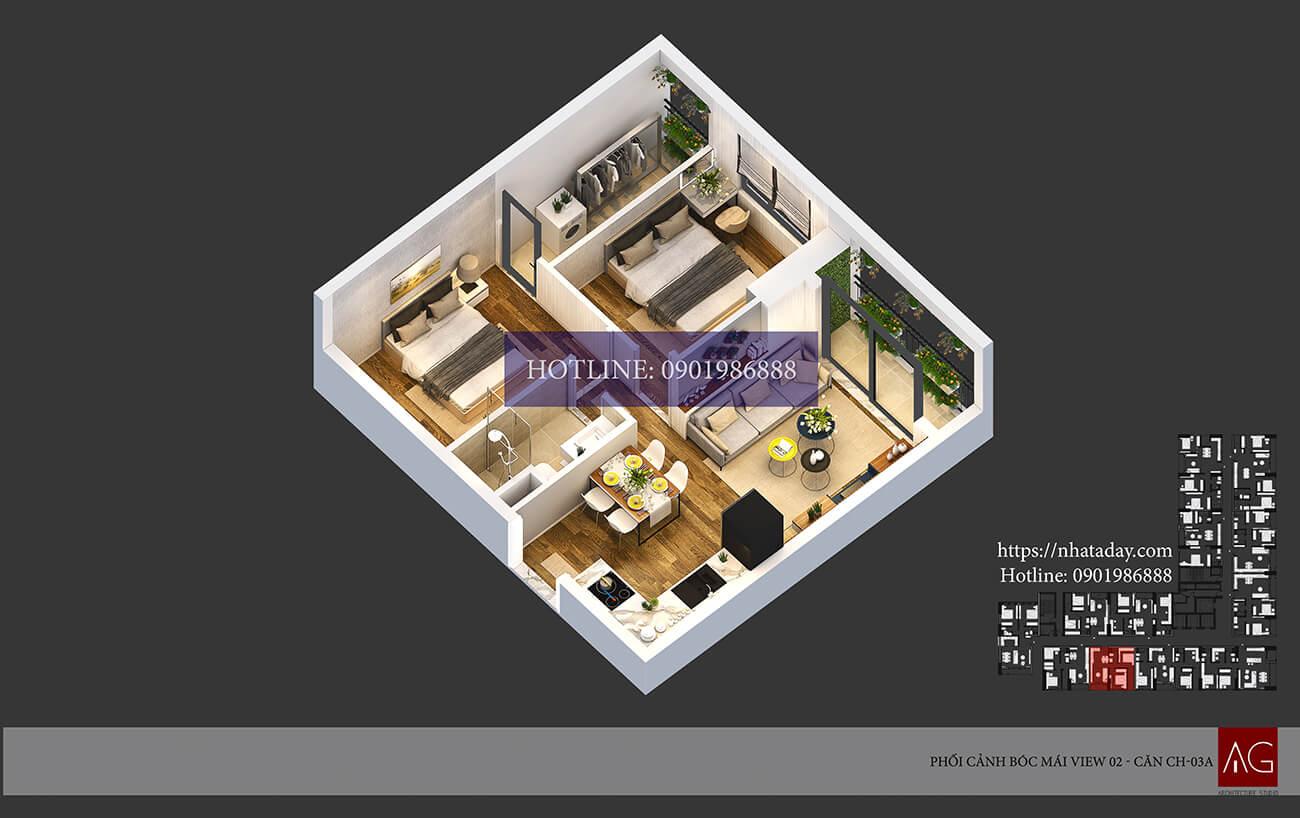 Thiết kế bóc mái căn hộ CH03 tòa A chung cư AnLand Nam Cường HH01 Complex Building
