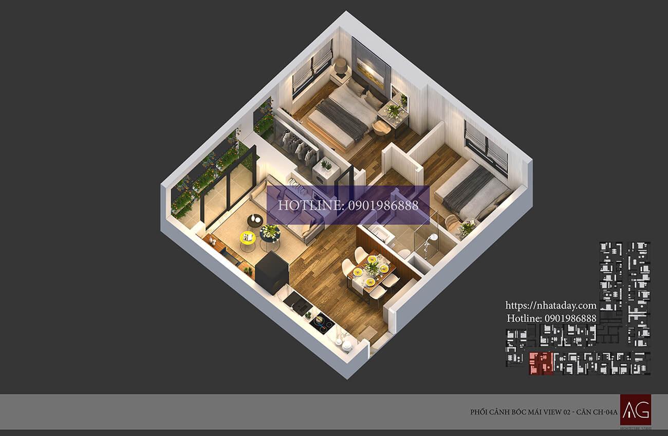 Thiết kế bóc mái căn hộ CH04 tòa A chung cư AnLand Nam Cường HH01 Complex Building