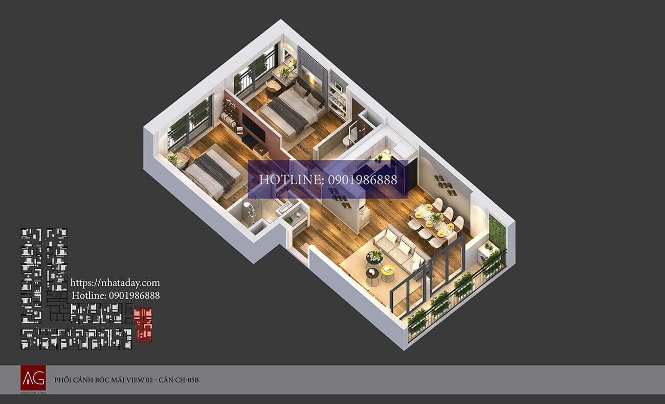 Thiết kế bóc mái căn hộ CH05 tòa B chung cư AnLand Nam Cường HH01 Complex Building