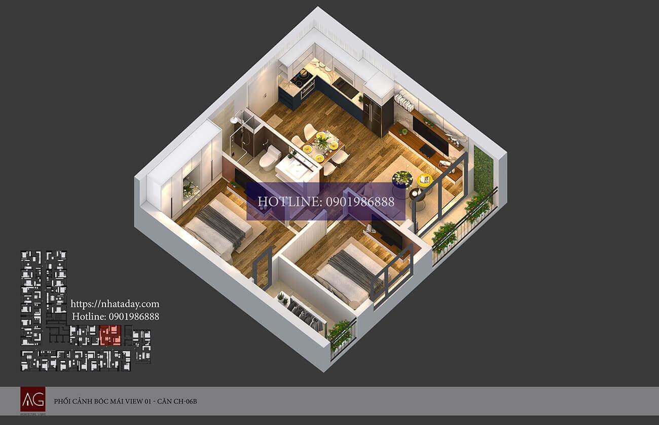 Thiết kế bóc mái căn hộ CH06 tòa B chung cư AnLand Nam Cường HH01 Complex Building