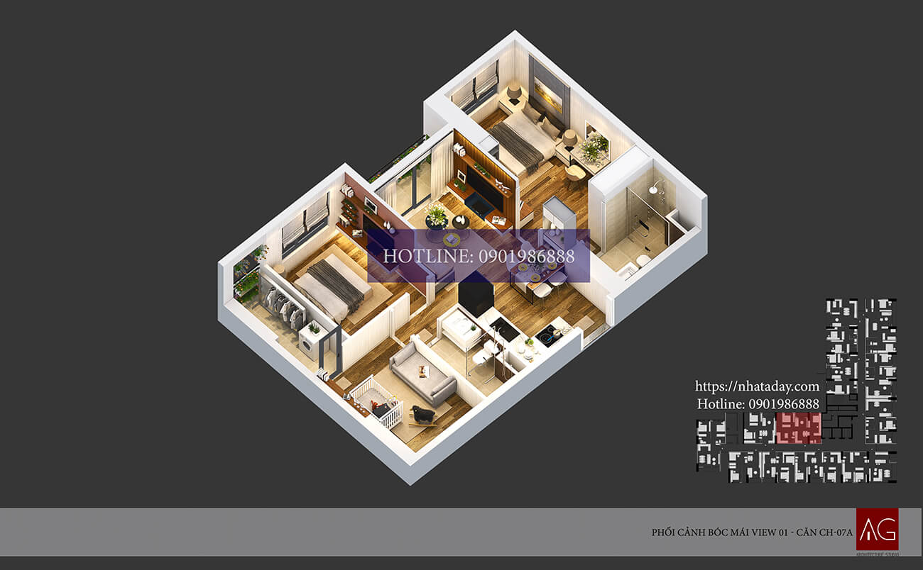 Thiết kế bóc mái căn hộ CH07 tòa A chung cư AnLand Nam Cường HH01 Complex Building