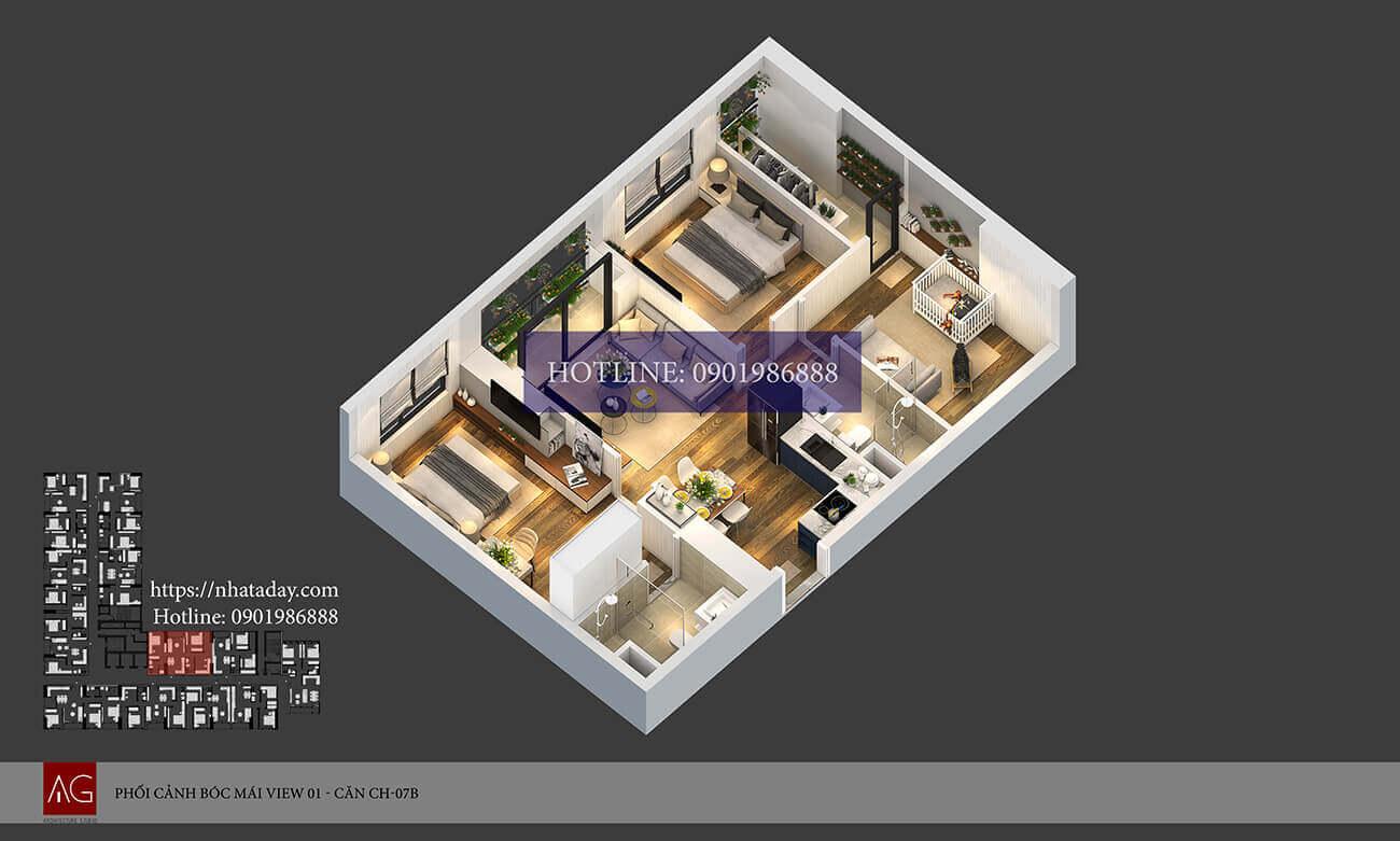 Thiết kế bóc mái căn hộ CH07 tòa B chung cư AnLand Nam Cường HH01 Complex Building