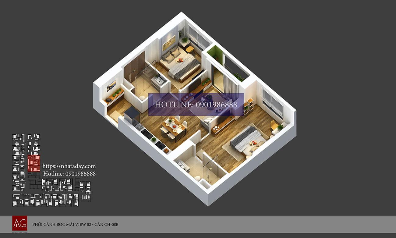 Thiết kế bóc mái căn hộ CH08 tòa B chung cư AnLand Nam Cường HH01 Complex Building
