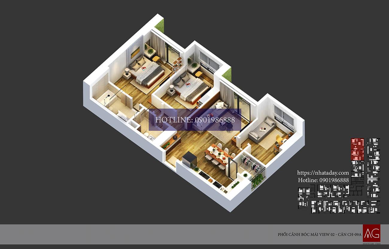 Thiết kế bóc mái căn hộ CH09 tòa A chung cư AnLand Nam Cường HH01 Complex Building