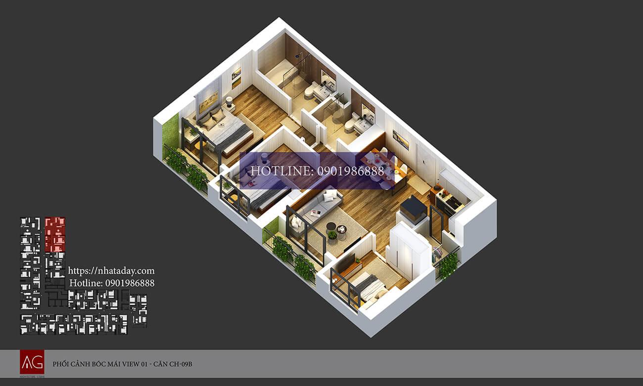 Thiết kế bóc mái căn hộ CH09 tòa B chung cư AnLand Nam Cường HH01 Complex Building