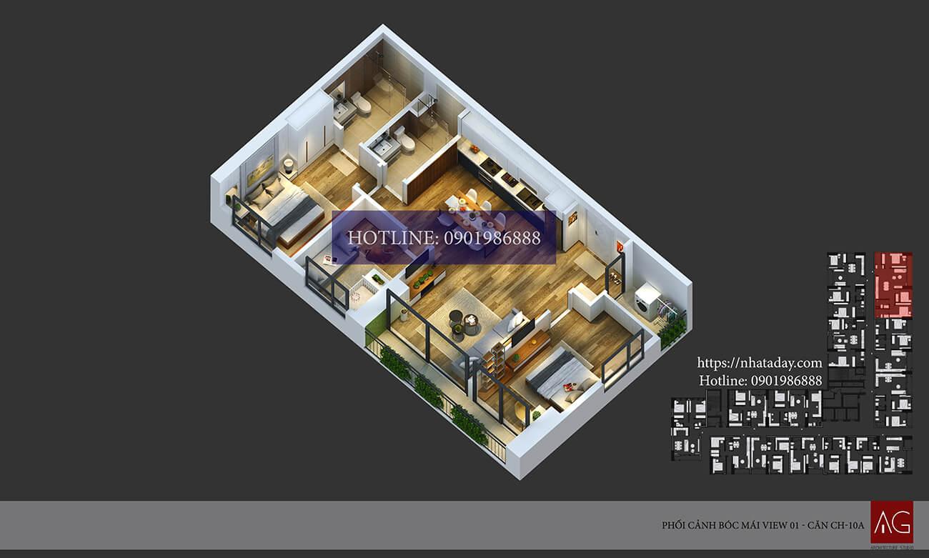 Thiết kế bóc mái căn hộ CH10 tòa A chung cư AnLand Nam Cường HH01 Complex Building